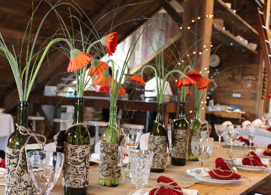 table setting in barn