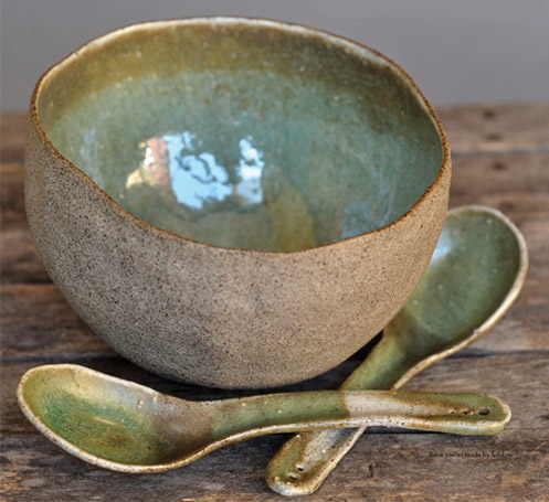 Pottery bowl and spoons