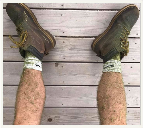 Legs after mowing grass
