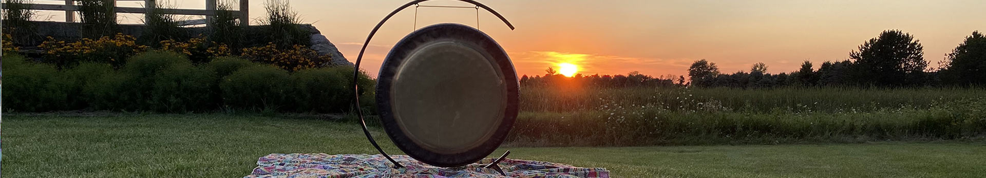 Gong with  sunset